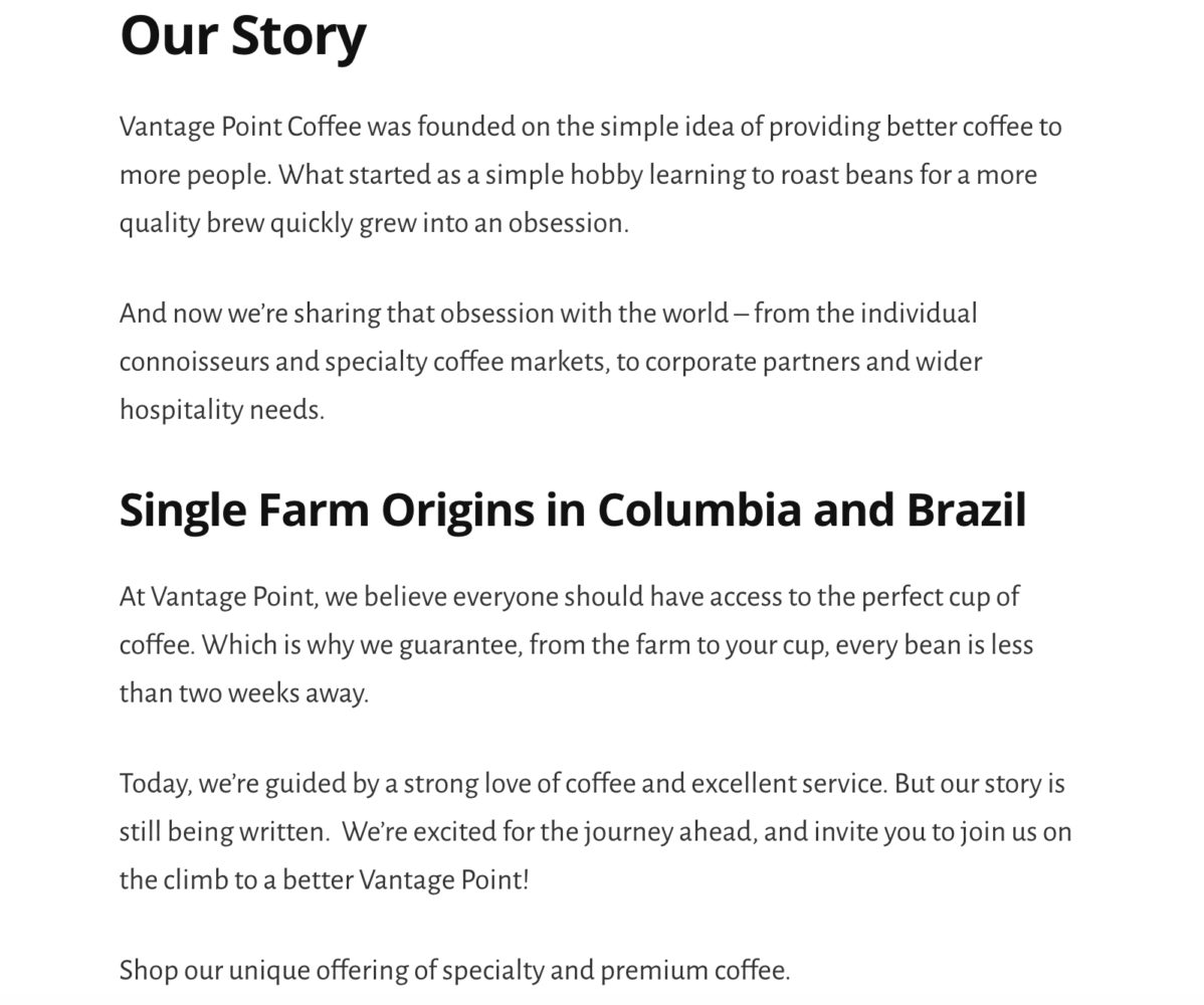 Marketing Writer for Vantage Point Coffee Mission Page.