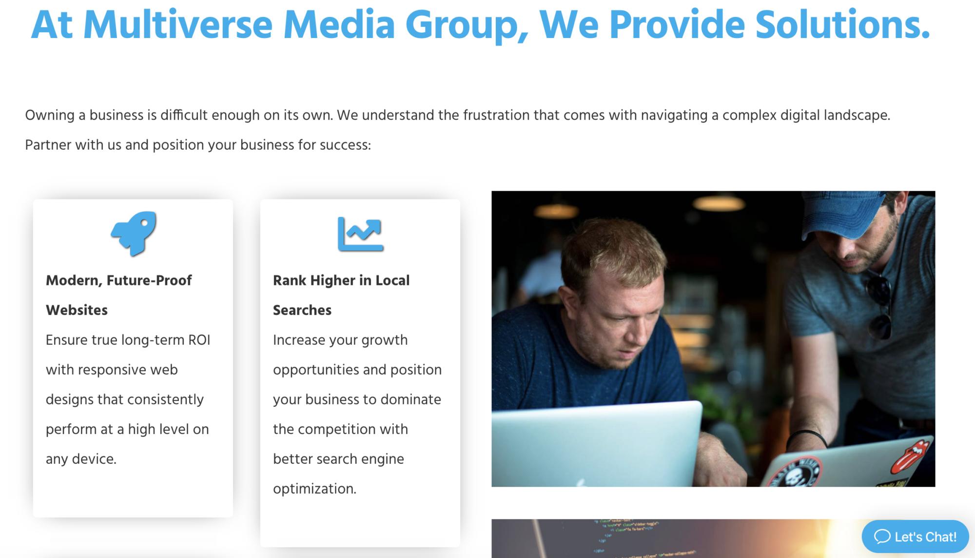 Marketing writing on MVMG web page