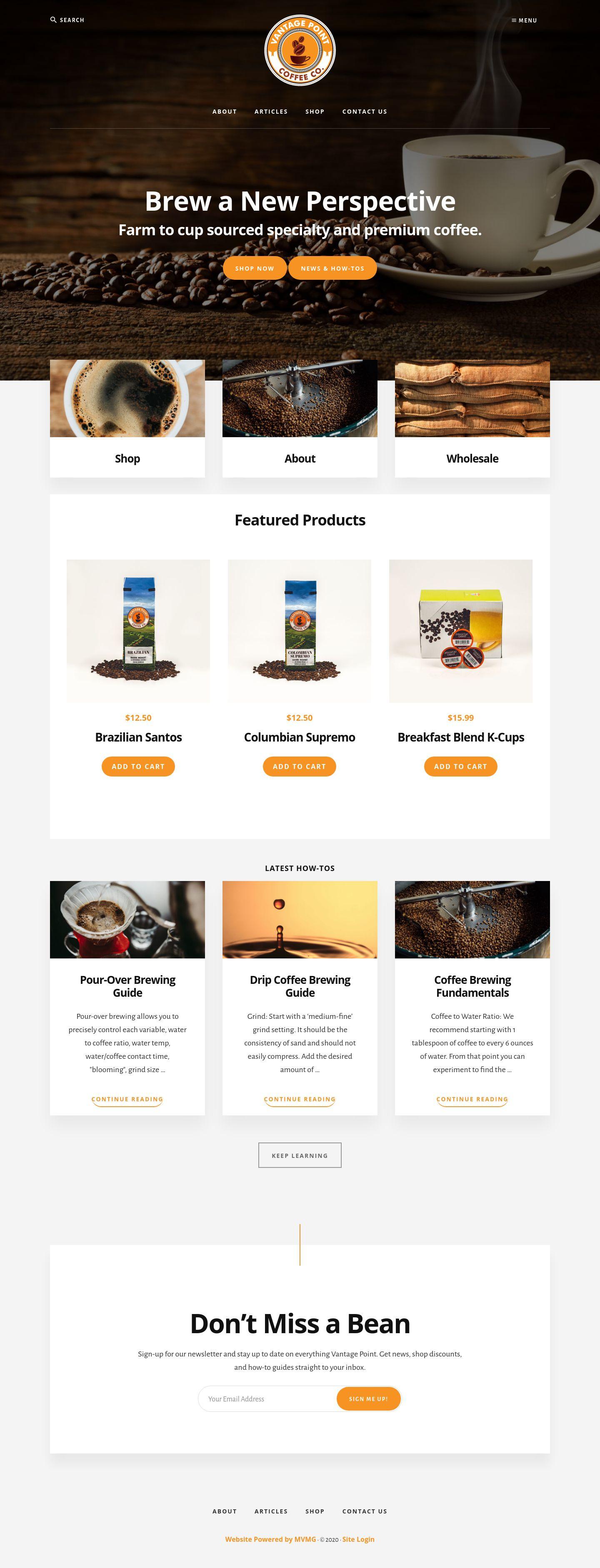 Marketing Writer work on Vantage Point Coffee website.